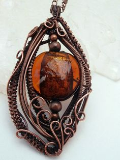 Wire Wrapped Pendant , Glass & Copper Necklace, Handmade Jewelry on Etsy, $55.00