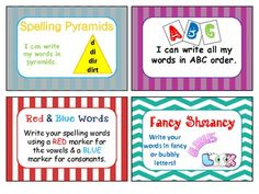 Word Work for Spelling Task Cards -Free download