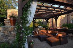 Brick, Outdoor Kitchen, Trellis, Contemporary