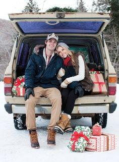 51 Romantic Couples Christmas Photo Ideas : Couple Christmas Photo Ideas Kiss In A Car