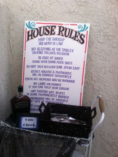 House rules, speakeasy, roaring 20's party