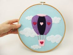 Embroidery hoop wall art LOVE is in the air Valentine's Hot air balloon