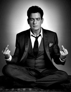 Great black and white portrait of Charlie #Sheen. #Celebrity #Photography