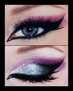 black & pink smokey eye