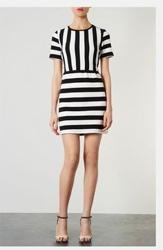 Topshop Textured Stripe Dress available at #Nordstrom