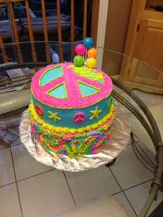Peace sign birthday party cake