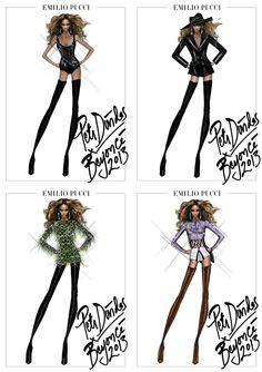 """A cantora Beyoncé finalmente revelou o estilista misterioso por trás do figurino de sua nova turnê, """"Mrs. Carter Show""""!  Olha só os quatro croquis divulgados para a imprensa!  Nós amamos! E vocês? <3"""