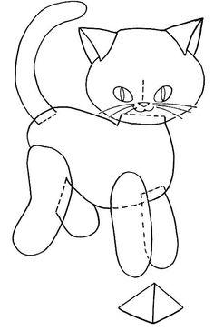 Felt Kitty Applique gato, sew, felt kitti, applique patterns, felt craft, cat appliqu, appliqu pattern, kitty, kitti appliqu
