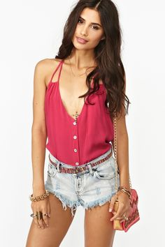 Button Up Tank in Rose