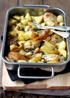 lemon and rosemary chicken bake    Ingredients (serves 4)    - 8 chicken legs  - 1 lemon  - 1 pound (450 g) potatoes  - 10 cloves garlic  - 4 tablespoons olive oil  - fresh rosemary  - coarse salt & pepper  - glass of dry white wine    Put chicken legs into a roasting dish. Cut potatoes and lemon into wedges. Add in the wedges and peeled garlic cloves. You can half some of the largest cloves.    Add in olive oil, coarsely chopped rosemary, salt and pepper and toss until all the ingredients ar...