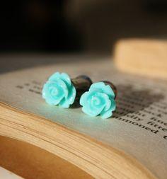 resin rose, resins, gauged ears, colors, tiffany blue, gauging ears, gaug ear, gages for ears, blue roses