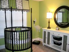 L.O.V.E. the toile & green...perfect for a gender neutral nursery!