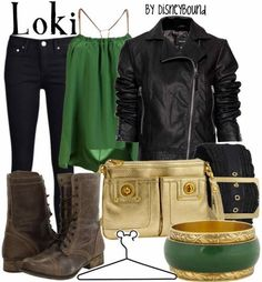 fashion, loki, black boots, leather jackets, disney bound, disneybound, inspired outfits, shoe, the avengers