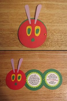 Very Hungry Caterpillar invitation.  Would work in classroom as somewhere for children to display their writing. -> Make a big one for a display?