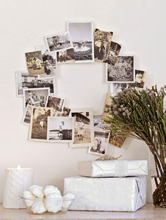 Take your favorite photos and arrange them in a wreath shape for this novel take on Christmas decorations.