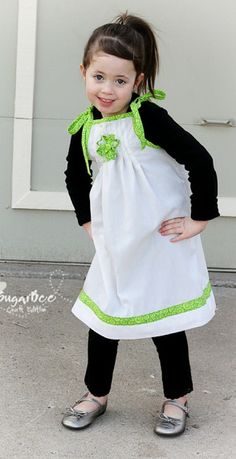 cute and simple outfit for St. Patrick's Day - - - it's a DIY, with tutorial, and it's made from a pillowcase - - March Pillowcase Dress - St. Patrick's Day ~ Sugar Bee Crafts