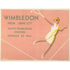 vintage Wimbledon poster via The London Transport Museum Charles Burton, London Underground, Picture-Black Posters, Wimbledon Posters, London Transportation, Vintage Wimbledon, Underground Art, Transportation Posters, 1930