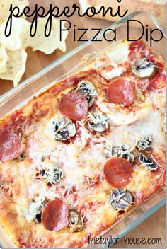 Pepperoni Pizza Dip - so making this for the Super Bowl