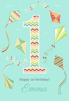 """Fun 1st birthday"" printable card. Customize, add text and photos. print for free! #birthday #card"
