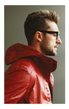 Red jacket + tortoise print #glasses #menswear #style #guys #men #fashion