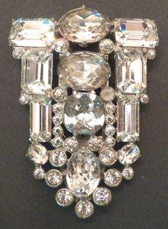 Fabulous Eisenberg Original Art Deco Vintage Huge Clear Crystal Fur Dress Clip | eBay