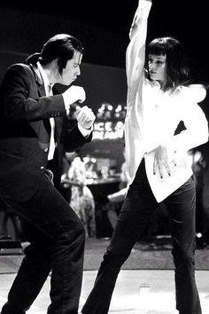 Mia (Uma Thurman) and Vincent (John Travolta) on set of Pulp Fiction.