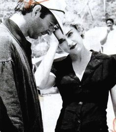 Herb Ritts and Madonna in the set for the 'Cherish' video, the first music video Herb ever shot