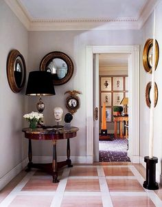Decorating Ideas for Your Home's 5 Smallest Spaces// center table, convex mirror