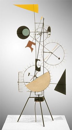 one of the meta-mechanical kinetic sculptures in the 'Méta-Herbin' series, made of painted steel and an electric motor, by Jean Tinguely, 1954