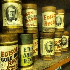 Vintage Edison Records we found at  a Local Antique Store .... Love the Vintage items ! ..... Antique - antiques - record - records - album - vintage - retro - homedecor - home decor