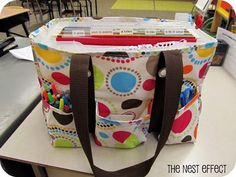 Teacher Organization - Put a file box inside the bag to hold the files. Definitely doing this.