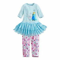 Disney Anna and Elsa Dress and Leggings Set for Girls - Frozen | Disney StoreAnna and Elsa Dress and Leggings Set for Girls - Frozen - Like sisters Anna and Elsa, this dress and pair of leggings make a great partnership. Three jewels sparkle like ice on the dress which features eyelet detailing on the skirt, freezing Frozen's magic forever.