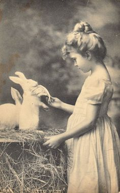 young girl with pet rabbits