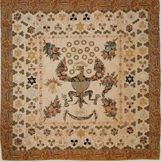 """chintz quilts , 1814 with inscription:  """"Strong in thy strength we bend no Knee To Monarcks or to Tyranny But borne upon thy ample opinion We ride to freedom and dominion 1814""""~♥~"""