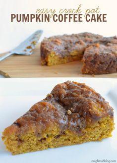 Easy Crock Pot Pumpkin Coffee Cake #crockpot #pumpkin #recipes