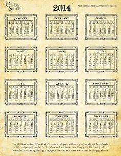printablesclip art, vintag calendar, calendri 2014, card, free printabl, printable calendar 2014 free, 2014 calendar, printabl vintag, antiques