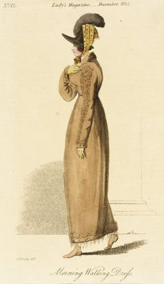 Morning Walking Dress, fashion plate, hand-colored engraving on paper, published in The Lady's Magazine, London, December 1814.