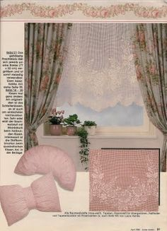 filet curtain with roses.