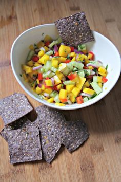 Mango Salsa=yum! No need for the red pepper or honey