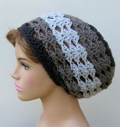 Color harmony Gray Slouchy Beanie Hat small by PurpleSageDesignz, $20.00