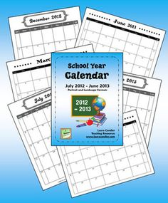 FREE School Year Calendar (2012 - 2013) PDF pages in both landscape and portrait formats - 8 1/2 x 11 size which is perfect for storing in a notebook#Repin By:Pinterest++ for iPad#