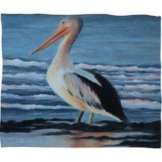 Rosie Brown Pelican Wading 2 Fleece Throw Blanket-15417-flemed $59.00 on Ozsale.com.au #art #fleece #blanket #denydesigns #homedecor #pelican #seascape #ozsale