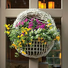 Welcome with Color Plant a flat-sided basket with your faves and hang on the door. color plant, the doors, garden ideas, bright garden