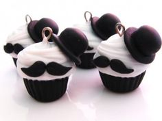 Bowler Hat Cupcakes charm, birthday, moustach, like a sir, mustach cupcak, front doors, groom cake, top hats, parti