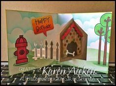 Karen Aicken using the Pop it Ups House Pivot Card die by Karen Burniston for Elizabeth Craft Designs - Altered Scrapbooking: Crazy 4 Challenges (C4C240), Happy Bark Day