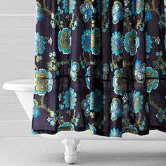 Nila Floral Shower Curtain  SKU #447035    $ 29.99 original    Sale: $23.99 showers, blue flowers, floral shower, shower curtains, apart bathroom, bathroom decor, pretti blue