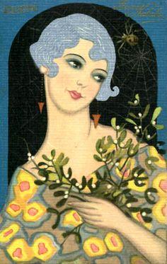 Vintage Deco Postcard--Blue Haired Flapper