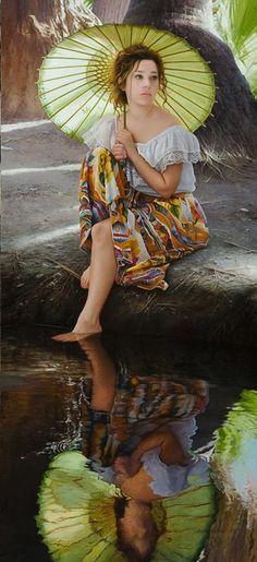 Artist: Duffy Sheridan, oil on linen {contemporary figurative beautiful female water reflection seated woman umbrella painting #loveart} duffysheridan.com