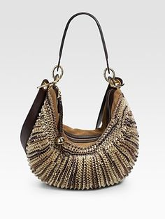 Diane von Furstenberg  Stephanie Braided Metallic Leather Hobo