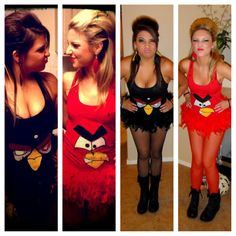 Do it yourself. DIY - Angry Birds for Halloween !!! Wife beater $5 Felt $5 Boa (for a skirt instead of a tutu) $10 Tights $2 Feathers (as hair accessories, JoAnns) $5 Feather Earrings $10 Best costume ever!!! Totally unique and creative :)